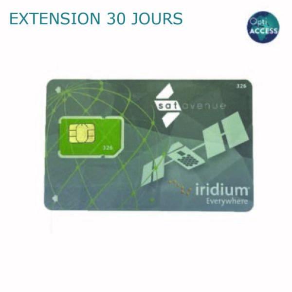 Extension de 30 jours pour carte SIM Iridium OptiACCESS prépayée-Satavanue
